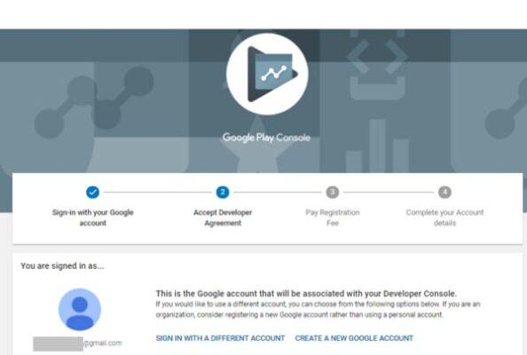 إنشاء حساب مطور جوجل بلاي